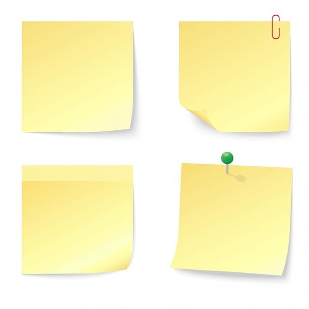 Zestaw Pustych żółtych Karteczek Samoprzylepnych Z Pinezką I Spinaczem Premium Wektorów