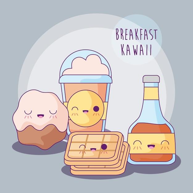 Zestaw pysznych potraw na śniadanie w stylu kawaii Premium Wektorów