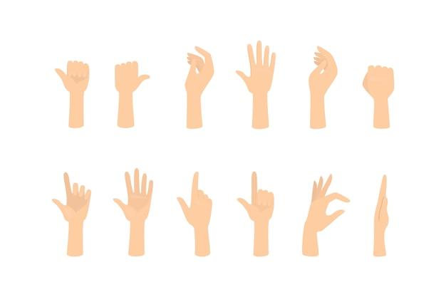 Zestaw Rąk Pokazujących Różne Gesty. Dłoń Wskazująca Na Coś. Ilustracja Premium Wektorów
