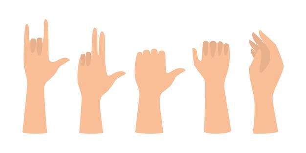 Zestaw Rąk Pokazujących Różne Gesty. Dłoń Wskazująca Na Coś Premium Wektorów