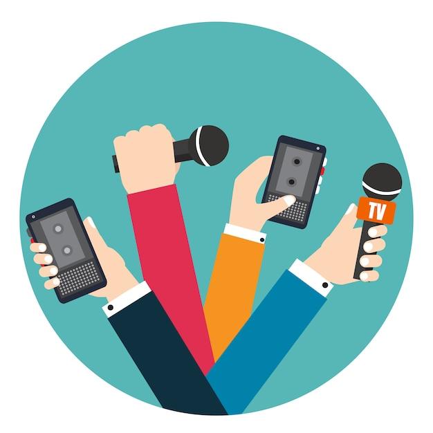 Zestaw rąk trzyma dyktafony i mikrofony. wiadomości na żywo. naciśnij ilustrację. Premium Wektorów
