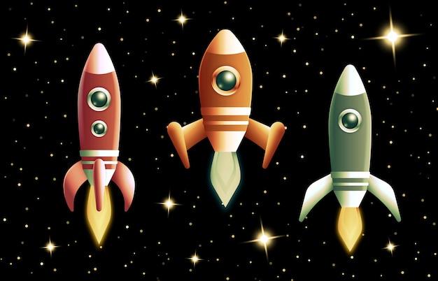 Zestaw Rakiet Retro Lub Statku Kosmicznego Lecącego W Przestrzeni Kosmicznej Z Płonącymi Doładowaniami Turbo Darmowych Wektorów