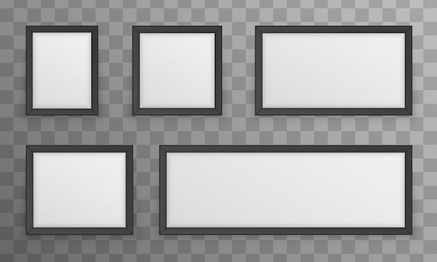 Zestaw Ramek Do Zdjęć Na Białym Tle Premium Wektorów