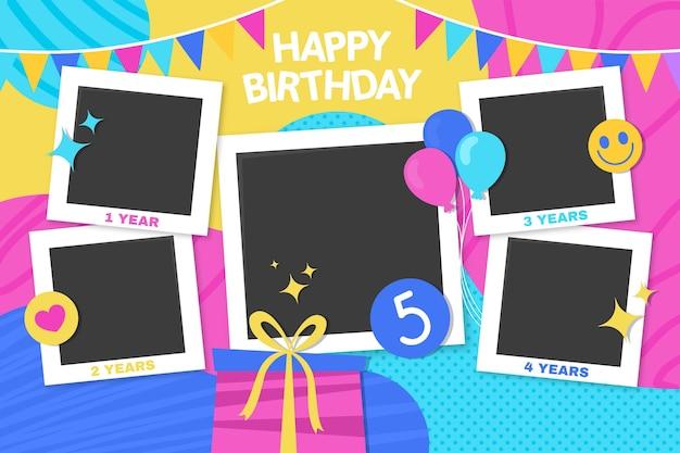 Zestaw Ramek Kolaż Urodziny Płaska Konstrukcja Darmowych Wektorów