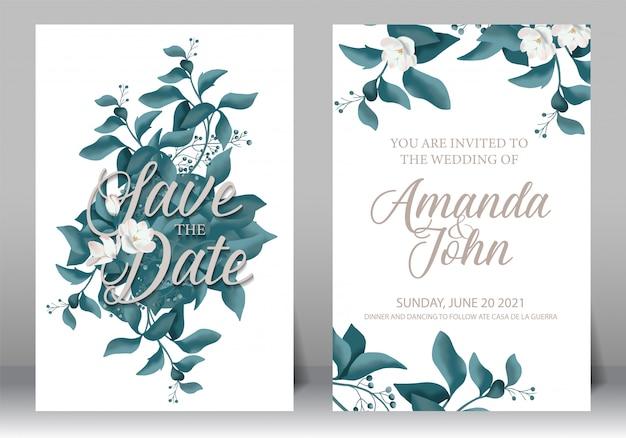 Zestaw ramek na zaproszenia ślubne; kwiaty, liście, akwarela, na białym tle. Premium Wektorów