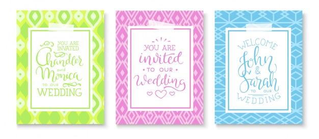 Zestaw ramek na zaproszenia ślubne; liście, akwarela Darmowych Wektorów
