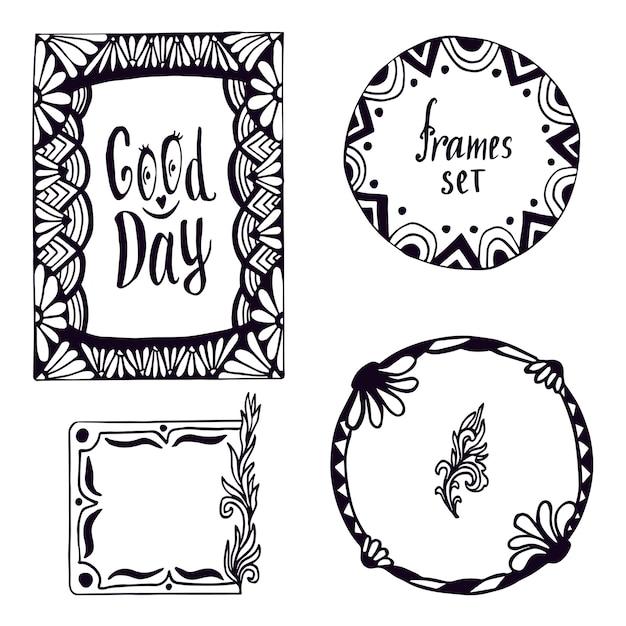 Zestaw Ramek Plemiennych. Ręcznie Rysowane Doodle Elementy Z Napisem Good Day. Dekoracja Wektorowa. Premium Wektorów