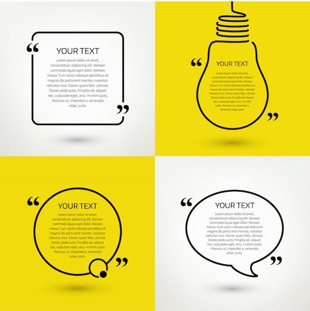 Zestaw Ramek Tekstowych Cytat. Format Premium Wektorów