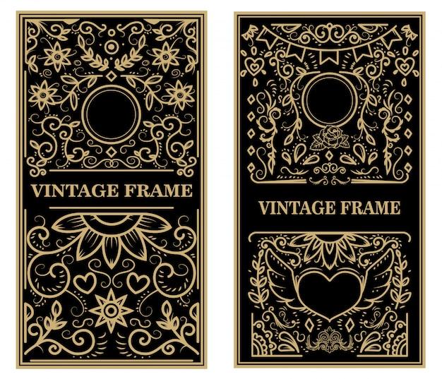Zestaw Ramek Vintage. Elementy Plakatu, Godła, Znaku, Karty. Ilustracja Premium Wektorów