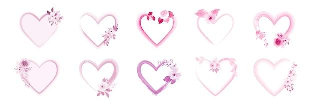 Zestaw Ramek W Kształcie Serca Ozdobionych Pięknymi Bukietami Różowych Kwiatów Akwarela. Premium Wektorów