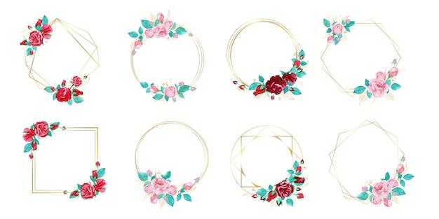 Zestaw Ramki Akwarela Kwiat Na ślub Monogram Logo I Projektowanie Logo Marki Darmowych Wektorów