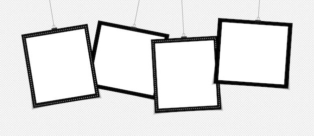 Zestaw Ramki Na Zdjęcia Na Taśmie Klejącej Na Przezroczystym Tle Premium Wektorów