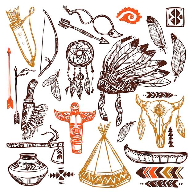 Zestaw Rdzennych Amerykanów Darmowych Wektorów