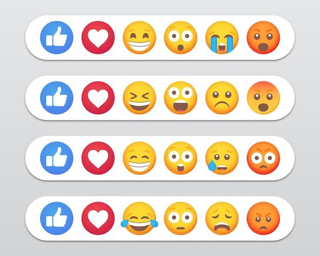 Zestaw Reakcji Emotikonów Emoji I Podobne Ikony. Ilustracja Premium Wektorów