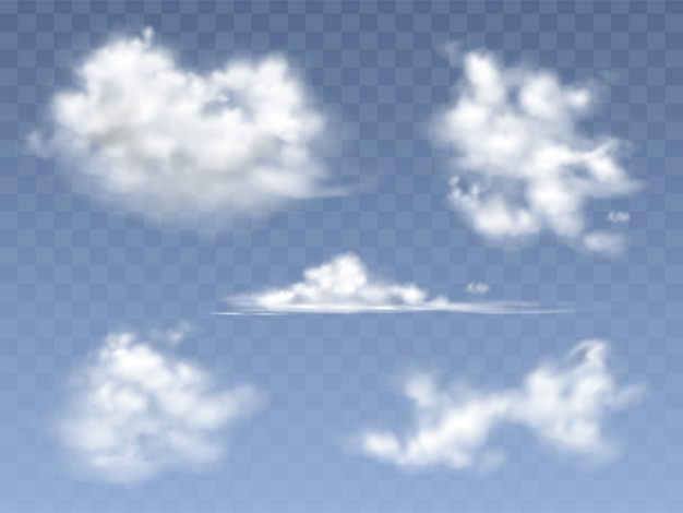 Zestaw realistyczne chmury, ilustracja różnych typów chmur cirrus i cumulus Darmowych Wektorów