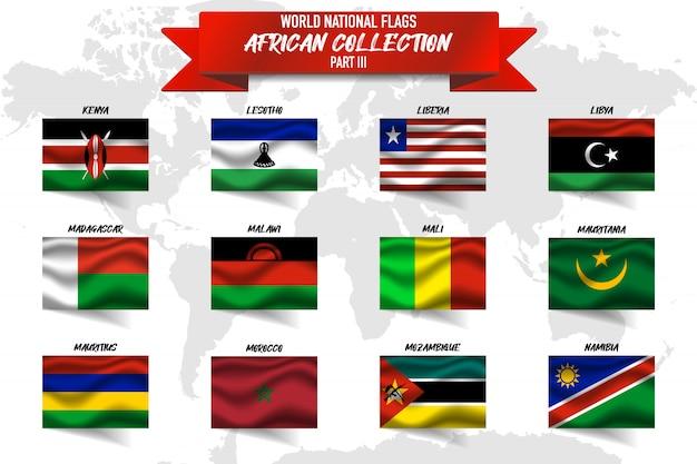 Zestaw Realistyczne Macha Flagą Narodową Krajów Afrykańskich Na Mapie świata. Kenia, Libia, Liberia, Mali I Inne Premium Wektorów