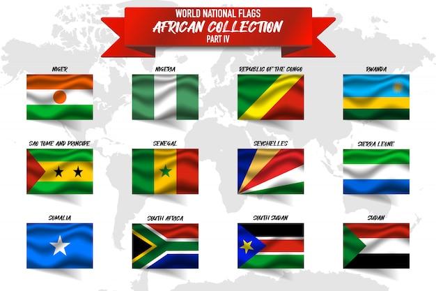Zestaw Realistyczne Macha Flagą Narodową Krajów Afrykańskich Na Mapie świata. Niger, Nigeria, Rwanda I Inne Premium Wektorów