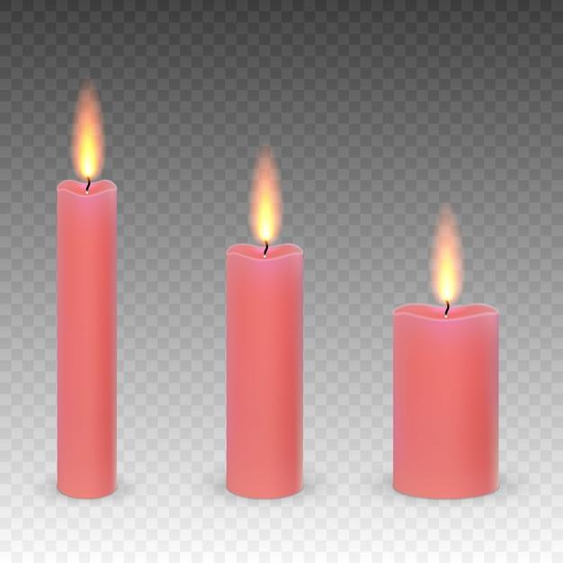 Zestaw Realistyczne Parafinowe świece Na Białym Tle Na Przezroczystym Tle. Premium Wektorów