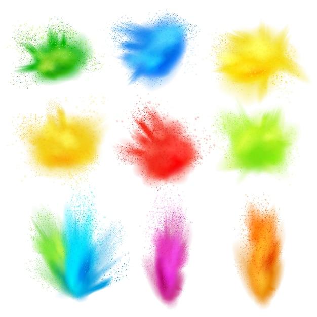Zestaw Realistyczne Plamy Farby Darmowych Wektorów