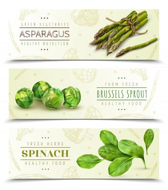 Zestaw Realistyczne Poziome Bannery Gospodarstwa świeże Warzywa Liściaste Darmowych Wektorów