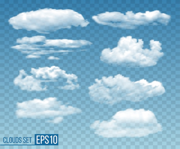 Zestaw Realistyczne Przezroczyste Chmury W Błękitne Niebo Premium Wektorów