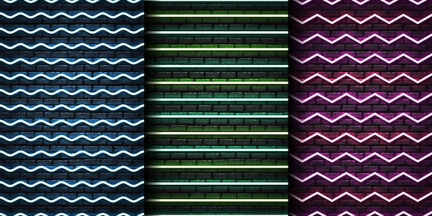 Zestaw Realistycznego Neonowego Szwu Z Zygzakiem Dla Szablonu I Układu Na Bezszwowej ścianie. Premium Wektorów