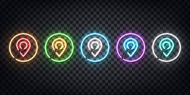 Zestaw Realistycznego Neonu Z Logo Map Pin Do Dekoracji I Pokrycia Na Przezroczystym Tle. Koncepcja Dostawy, Logistyki I Transportu. Premium Wektorów