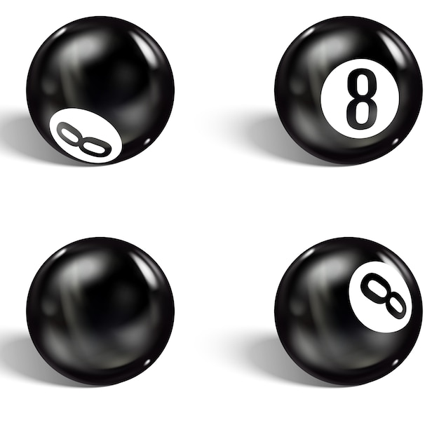 Zestaw Realistycznej 8 Piłek. Pojedynczo Na Białym Premium Wektorów