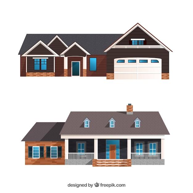 Zestaw realistycznych domów Darmowych Wektorów
