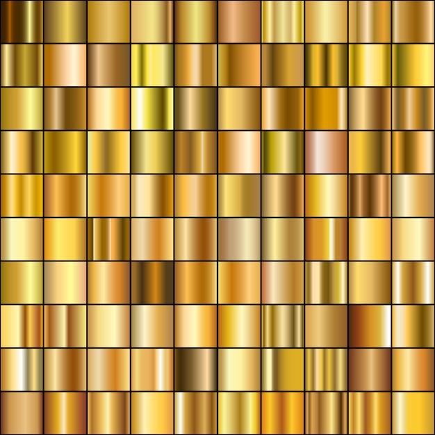 Zestaw realistycznych gradientów złota. Premium Wektorów