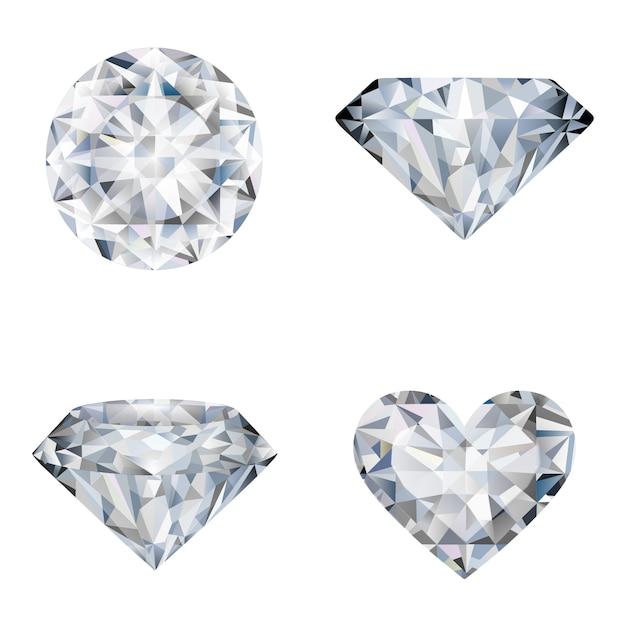 Zestaw Realistycznych Ilustracji Diamentów Premium Wektorów
