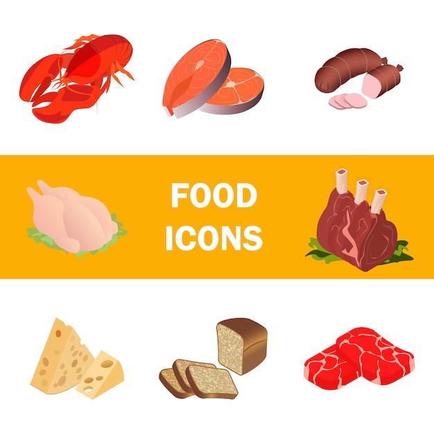 Zestaw realistycznych ilustracji mięsa, produkty morskie Premium Wektorów