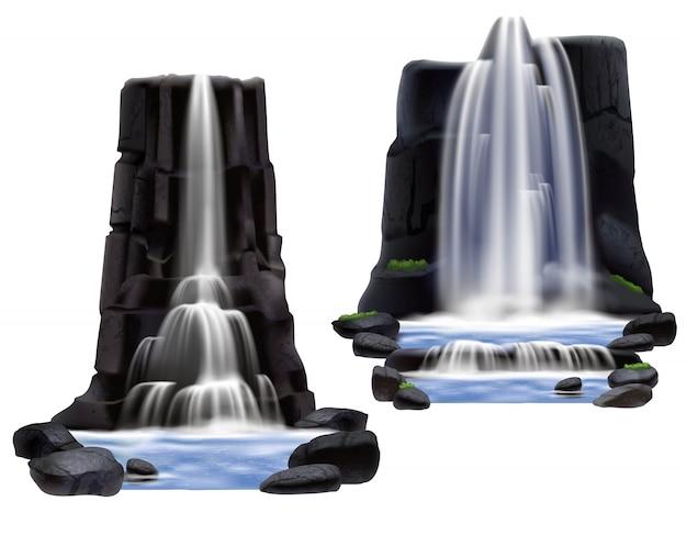Zestaw realistycznych kompozycji wodospadów Darmowych Wektorów