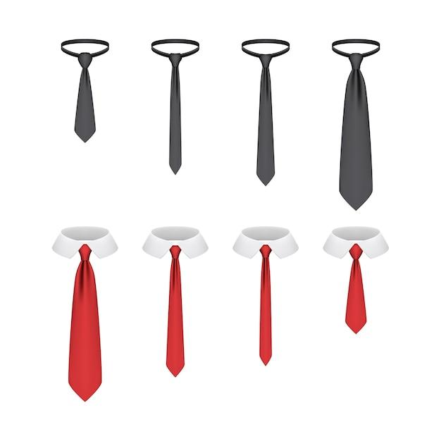 Zestaw Realistycznych Krawatów Na Białym Tle Premium Wektorów