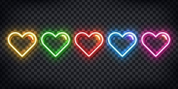 Zestaw Realistycznych Neonów Kolorowych Serc Do Dekoracji Szablonu I Pokrycia Układu Na Przezroczystym Tle. Premium Wektorów