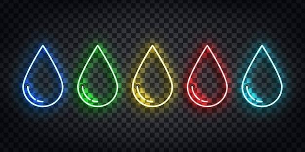Zestaw Realistycznych Neonów Logo Kropli Wody, Trucizny, Oleju I Krwi Do Dekoracji Szablonu Na Przezroczystym Tle. Premium Wektorów