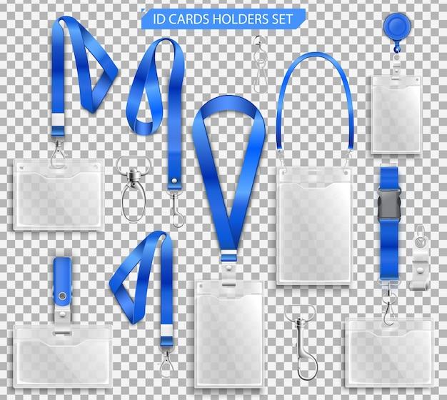 Zestaw Realistycznych Odznak Posiadaczy Kart Identyfikacyjnych Na Niebieskich Smyczach Z Klipsami Do Paska, Ilustracją Sznurka I Klamr Premium Wektorów
