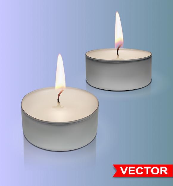 Zestaw Realistycznych Okrągłych świec Woskowych Premium Wektorów