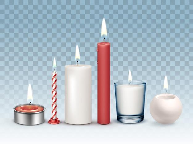 Zestaw Realistycznych Palących Się Różnych Białych I Czerwonych świec Premium Wektorów