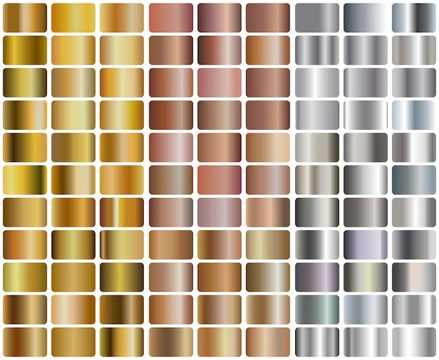 Zestaw realistycznych srebrnych, różowego złota i złotych gradientów Premium Wektorów