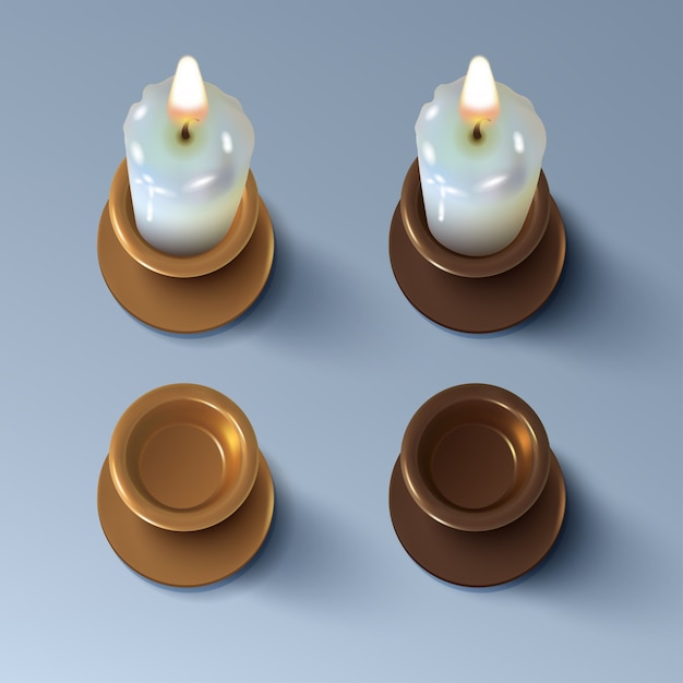 Zestaw Realistycznych świec I świeczników W Stylu Vintage Z Mosiądzu Lub Miedzi Premium Wektorów