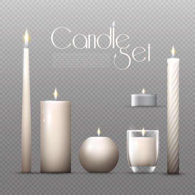 Zestaw Realistycznych świecących świec Darmowych Wektorów