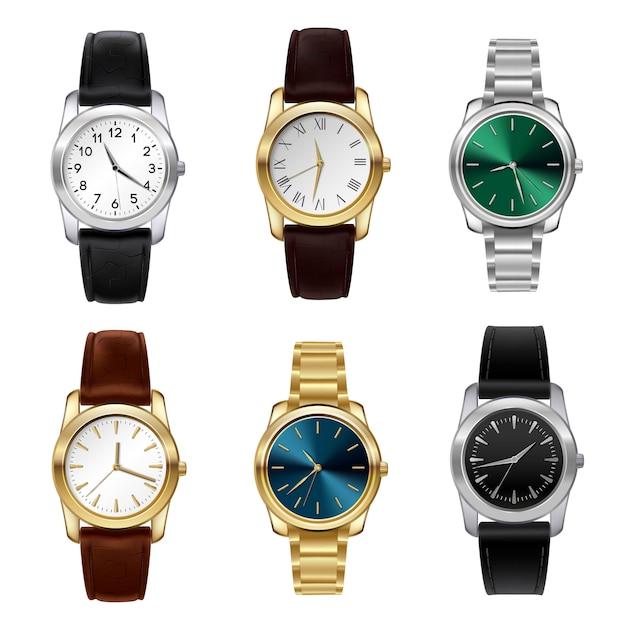 Zestaw realistycznych zegarków Darmowych Wektorów