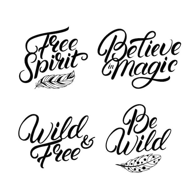 Zestaw Ręcznie Napisane Cytaty. Wolny Duch. Bądź Dziki. Premium Wektorów