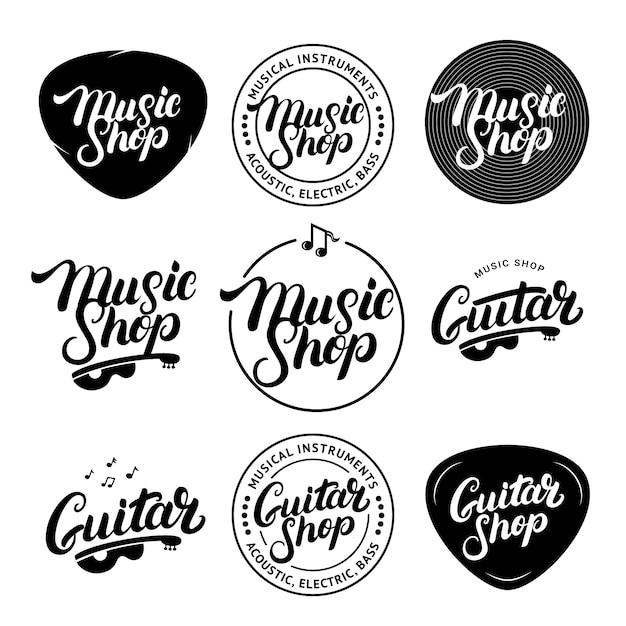 Zestaw Ręcznie Napisane Logo Sklepu Muzycznego I Gitarowego, Etykiety, Odznaki, Emblematy. Premium Wektorów