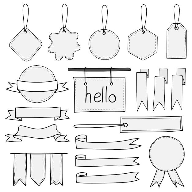 Zestaw ręcznie rysowane banery, etykiety, tagi i wstążki. Premium Wektorów