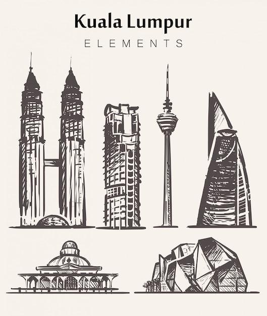Zestaw Ręcznie Rysowane Budynków Kuala Lampur.kuala Lampur Elementy Szkic Ilustracji Premium Wektorów