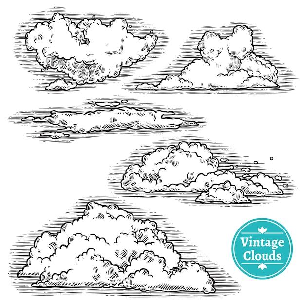 Zestaw ręcznie rysowane chmury Darmowych Wektorów