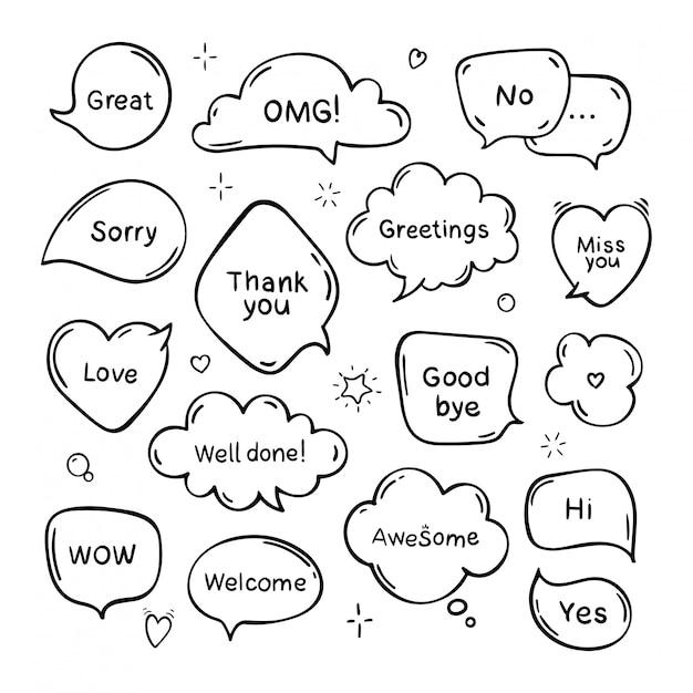 Zestaw Ręcznie Rysowane Dymki Mowy I Mów Z Wiadomości, Pozdrowienia I Dialogu. Doodle Styl. Odosobniony Premium Wektorów