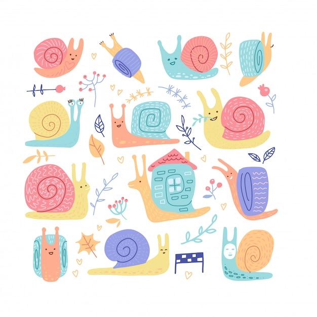 Zestaw Ręcznie Rysowane Dziecinne ślimaki O Różnych Zachowaniach Premium Wektorów